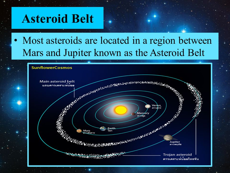 Asteroid Belt Most asteroids are located in a region between Mars and Jupiter known as the Asteroid Belt.