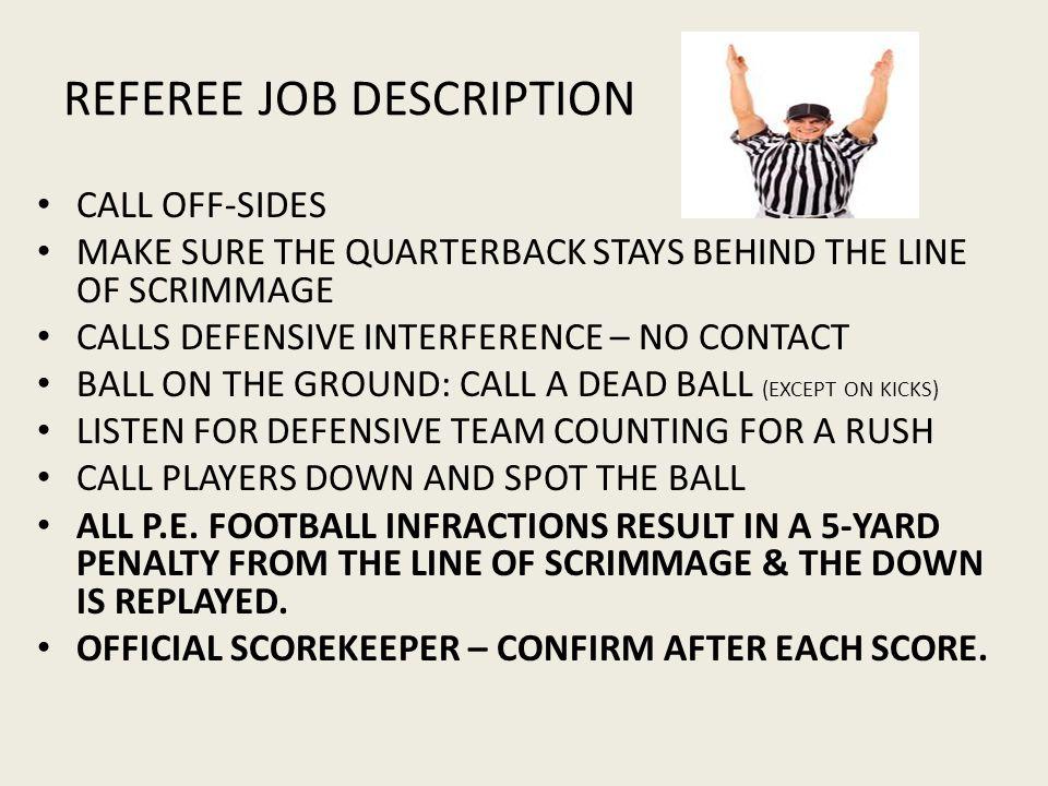 REFEREE JOB DESCRIPTION