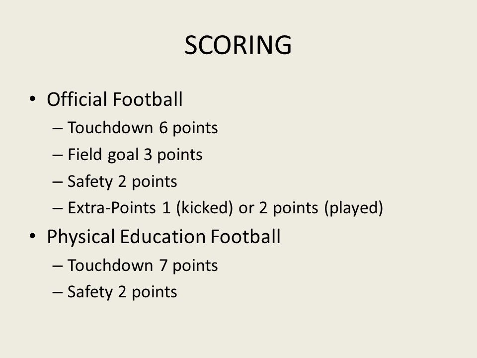 SCORING Official Football Physical Education Football