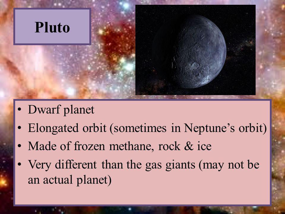 Pluto Dwarf planet Elongated orbit (sometimes in Neptune's orbit)