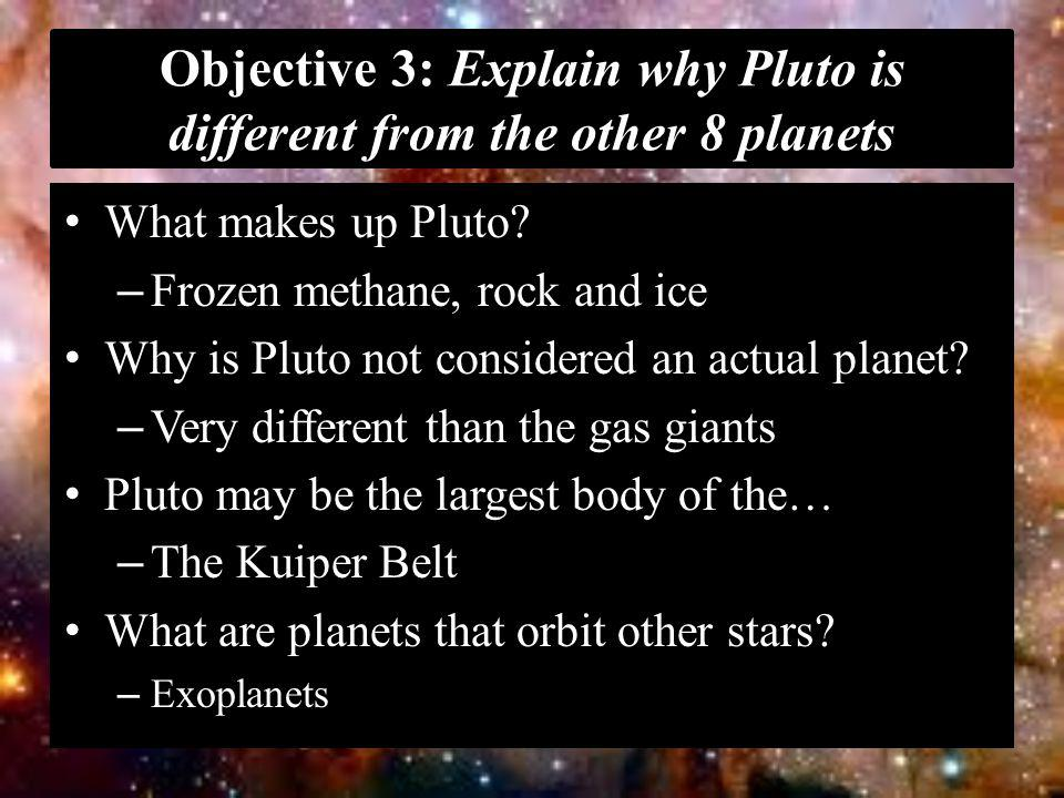 Objective 3: Explain why Pluto is different from the other 8 planets