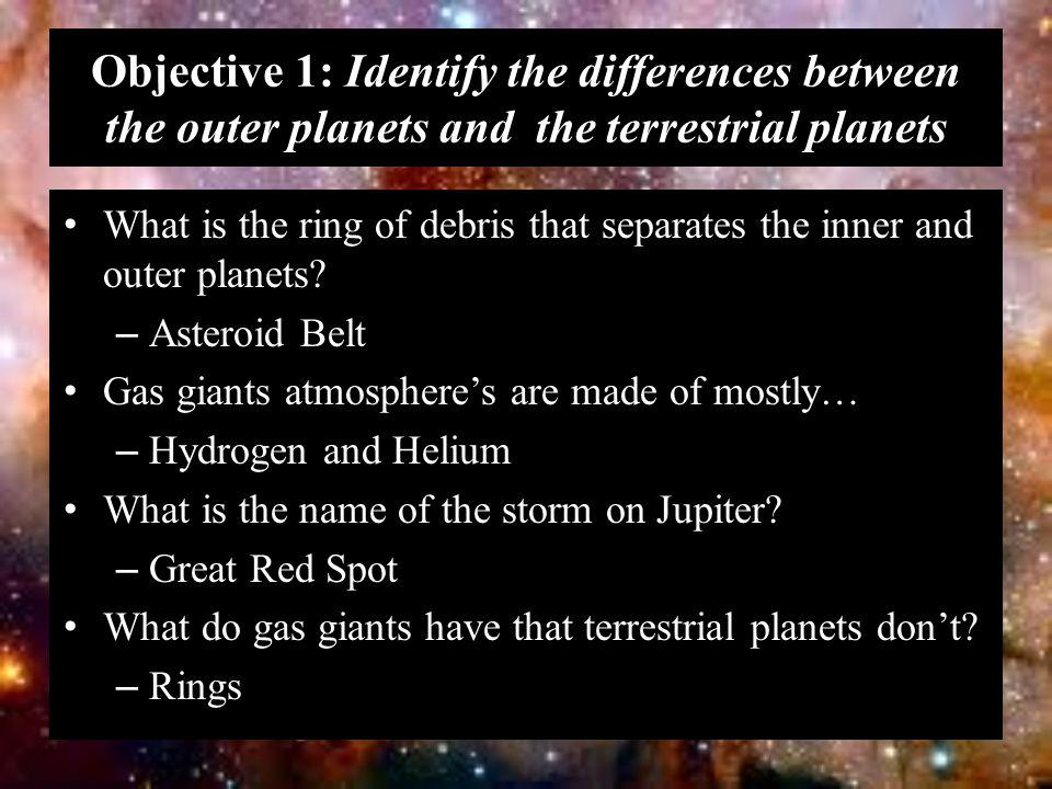 Objective 1: Identify the differences between the outer planets and the terrestrial planets