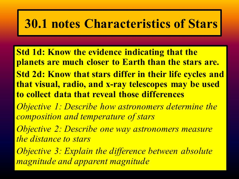 30.1 notes Characteristics of Stars