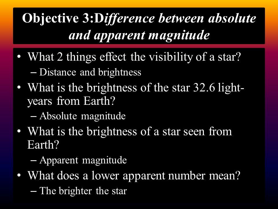 Objective 3:Difference between absolute and apparent magnitude