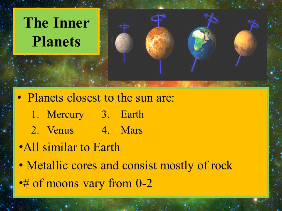 The Inner Planets Planets closest to the sun are: All similar to Earth