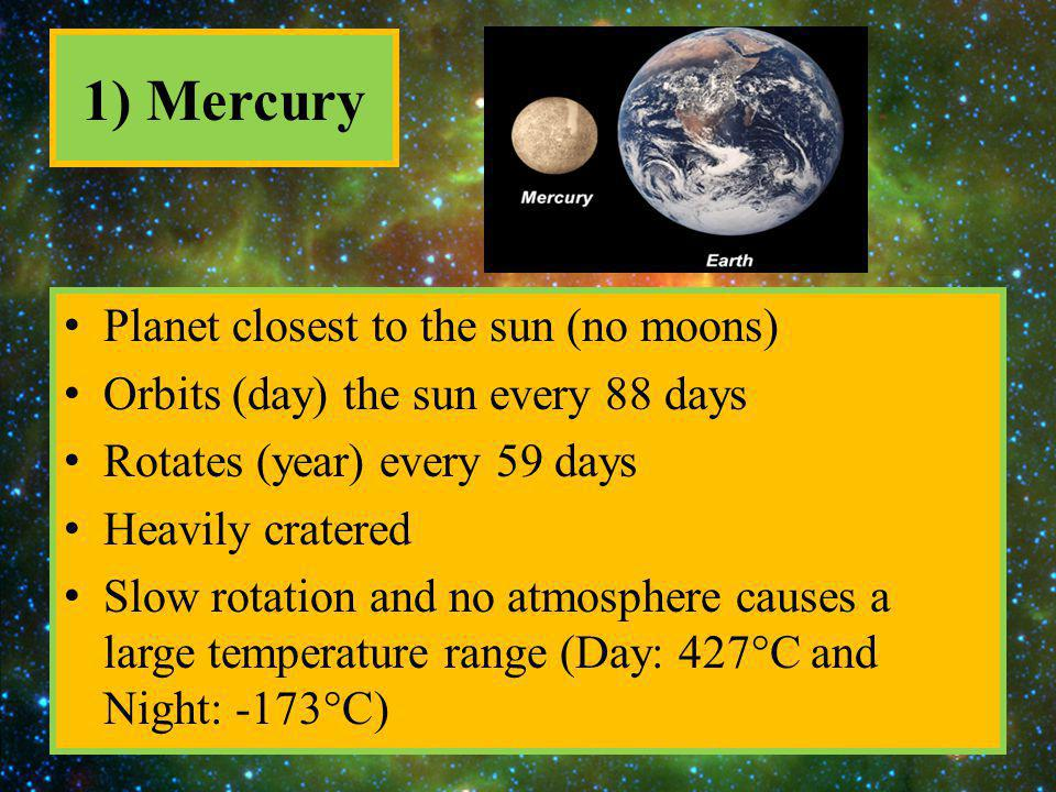 1) Mercury Planet closest to the sun (no moons)