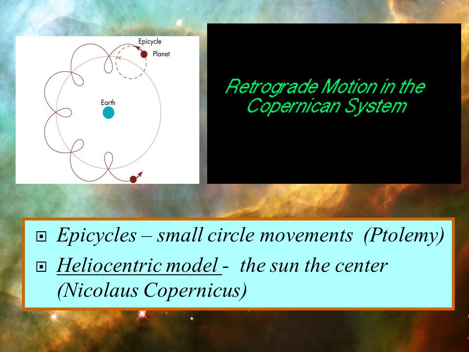 Epicycles – small circle movements (Ptolemy)