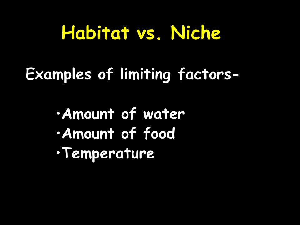 Habitat vs. Niche Examples of limiting factors- Amount of water