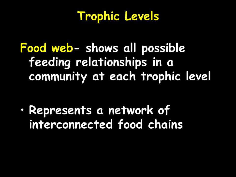 Trophic Levels Food web- shows all possible feeding relationships in a community at each trophic level.