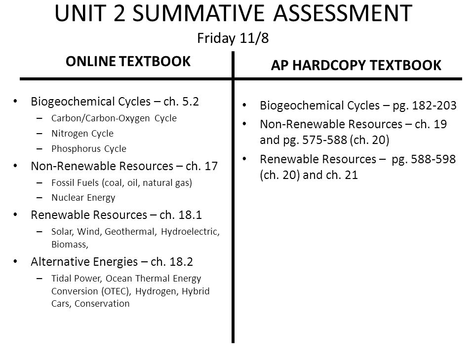 UNIT 2 SUMMATIVE ASSESSMENT Friday 11/8