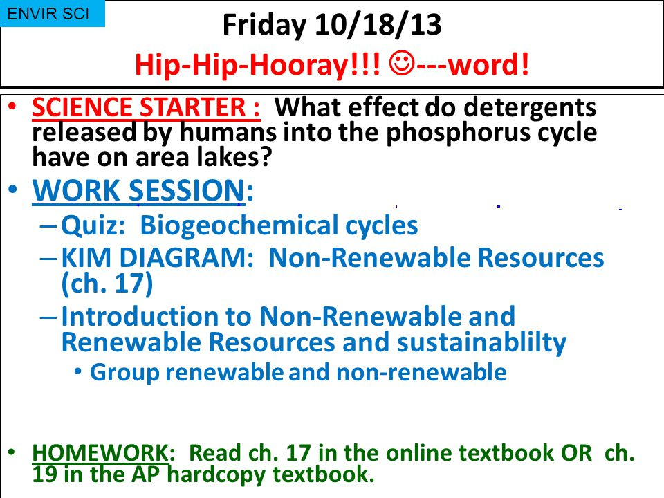 Friday 10/18/13 Hip-Hip-Hooray!!! ---word!