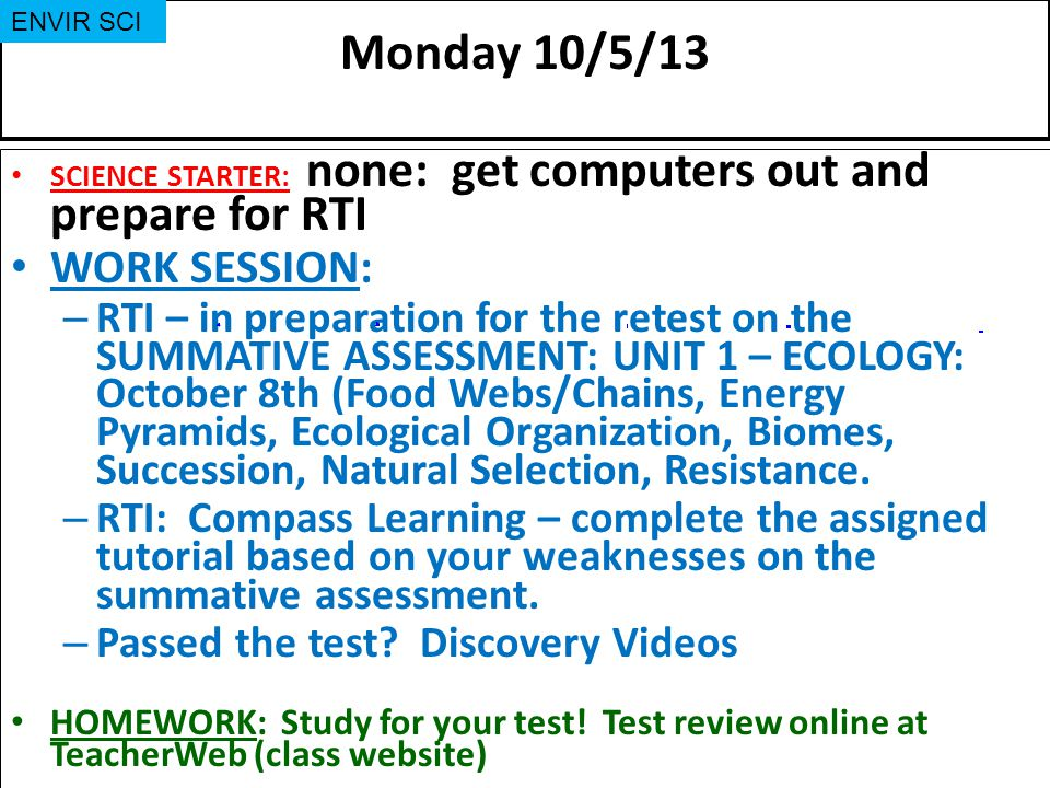 Monday 10/5/13 WORK SESSION: