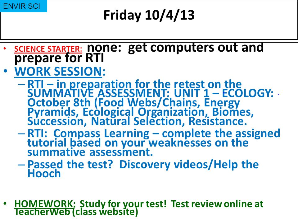 Friday 10/4/13 WORK SESSION:
