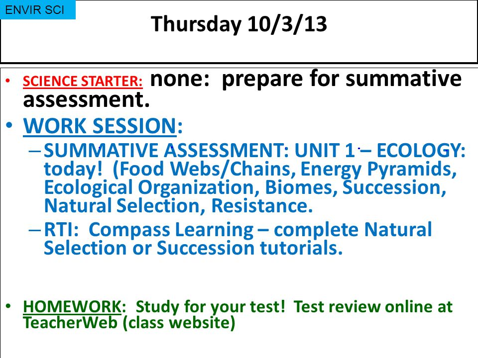 Thursday 10/3/13 WORK SESSION: