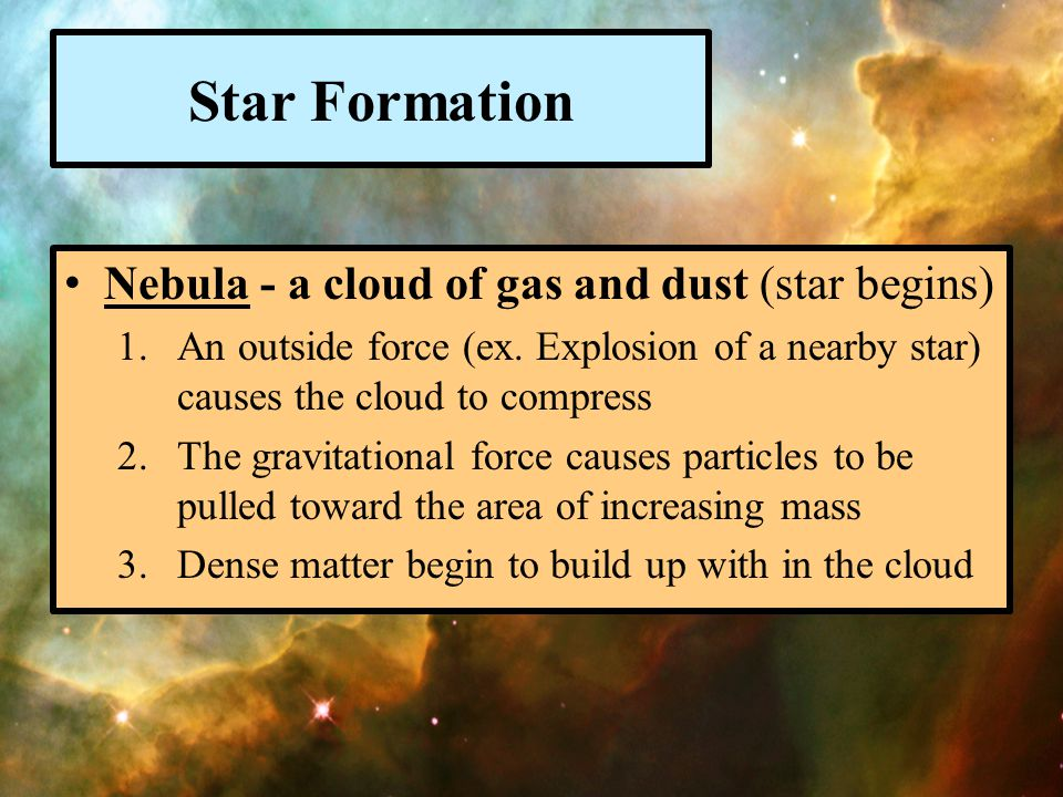 Star Formation Nebula - a cloud of gas and dust (star begins)