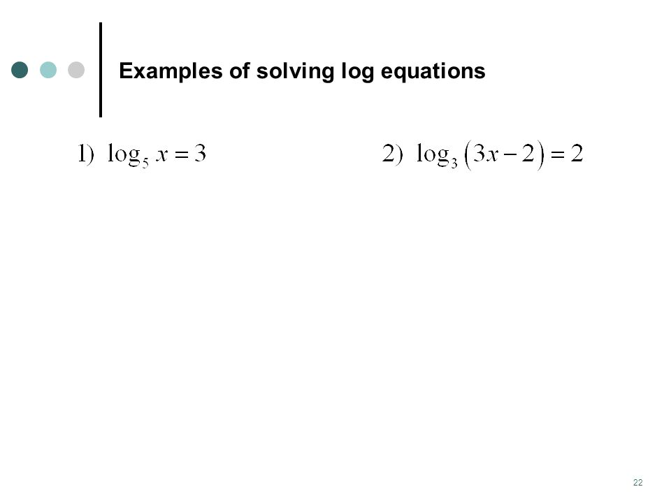 Examples of solving log equations