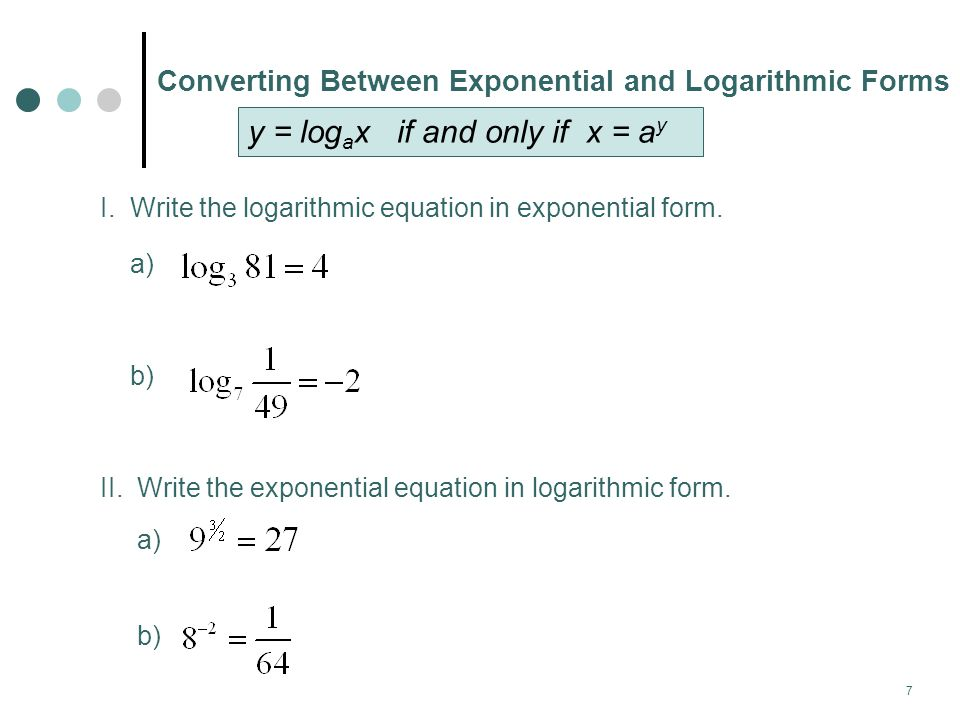 y = logax if and only if x = ay