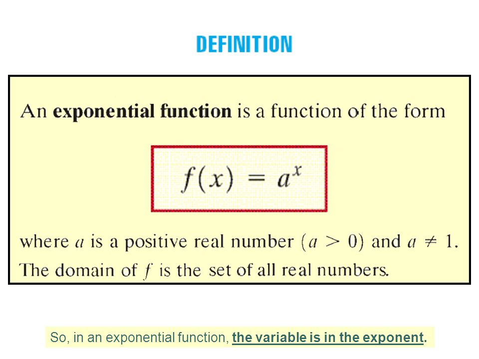 So, in an exponential function, the variable is in the exponent.