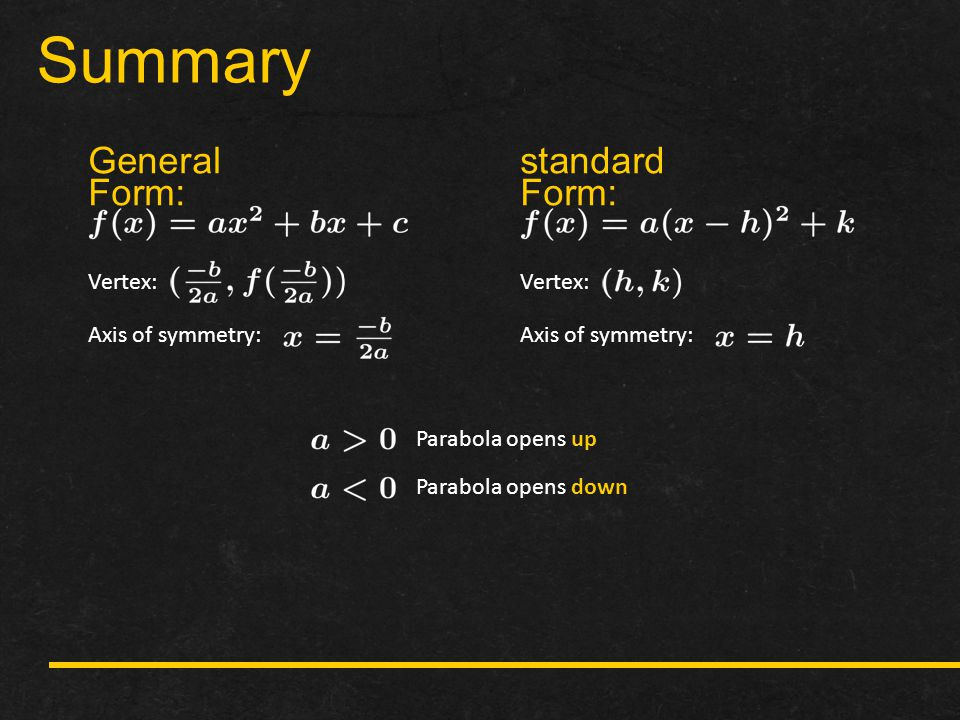 Summary General Form: standard Form: Vertex: Axis of symmetry: Vertex: