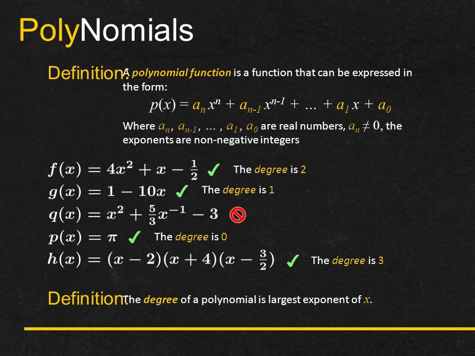 p(x) = an xn + an-1 xn-1 + … + a1 x + a0