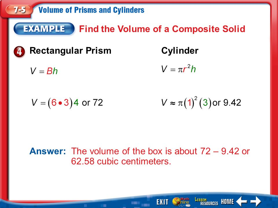 Find the Volume of a Composite Solid