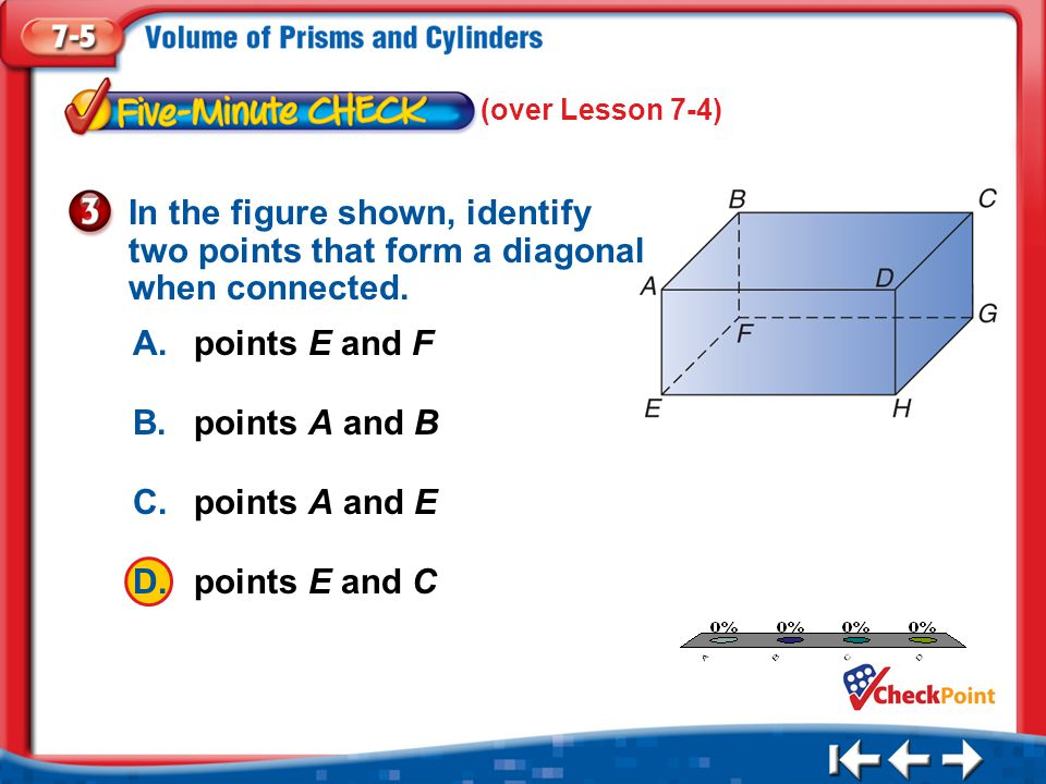 (over Lesson 7-4) In the figure shown, identify two points that form a diagonal when connected. A. points E and F.