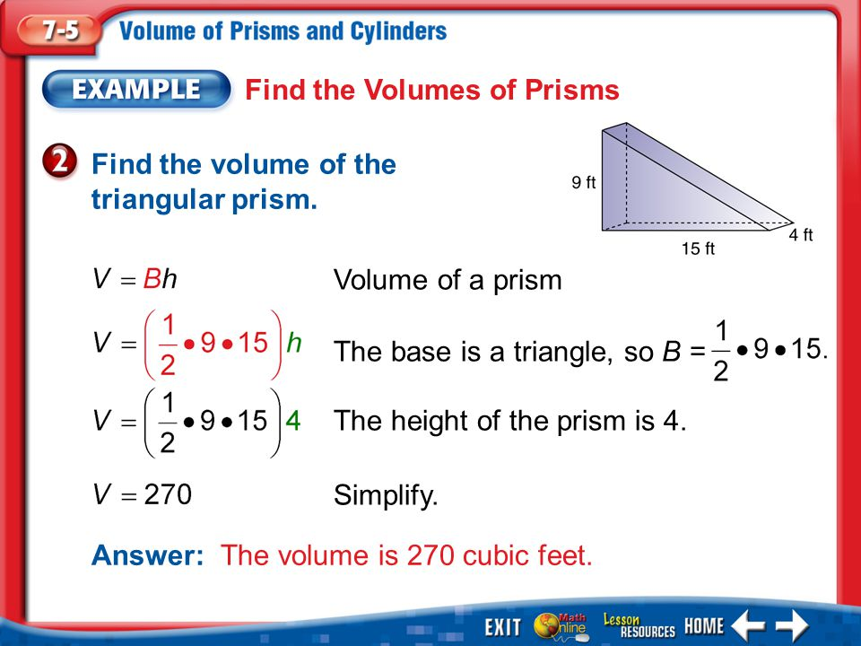 Find the Volumes of Prisms