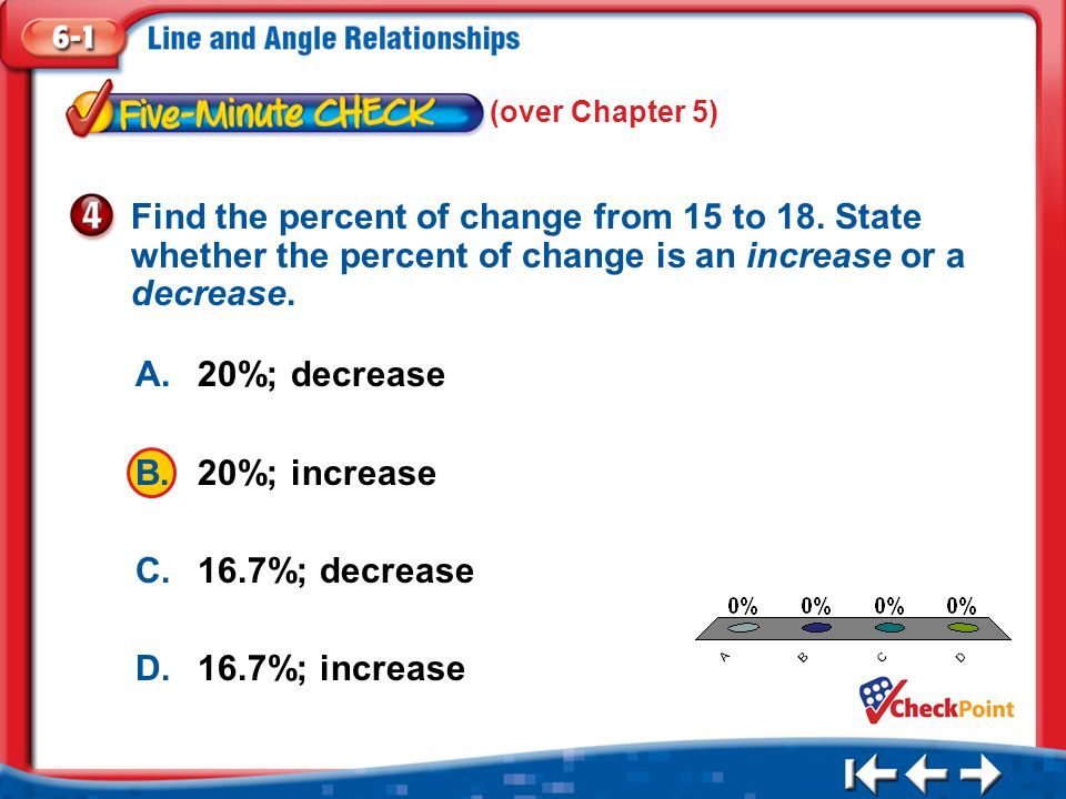 (over Chapter 5) Find the percent of change from 15 to 18. State whether the percent of change is an increase or a decrease.