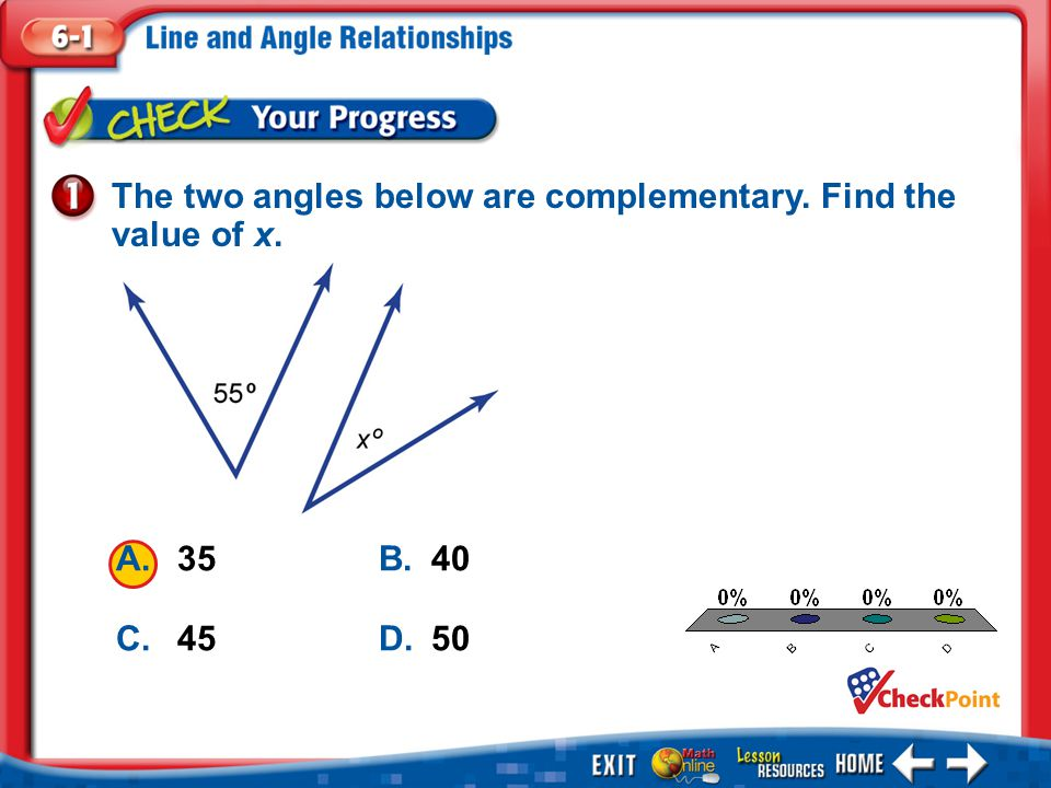 The two angles below are complementary. Find the value of x.