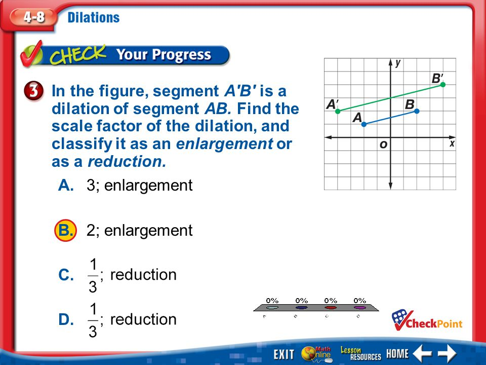 In the figure, segment A′B′ is a dilation of segment AB