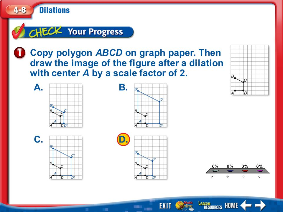 Copy polygon ABCD on graph paper