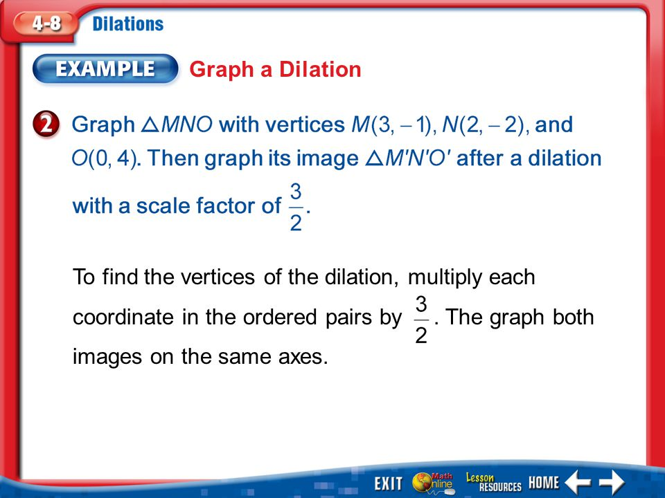 Graph a Dilation To find the vertices of the dilation, multiply each coordinate in the ordered pairs by . The graph both images on the same axes.