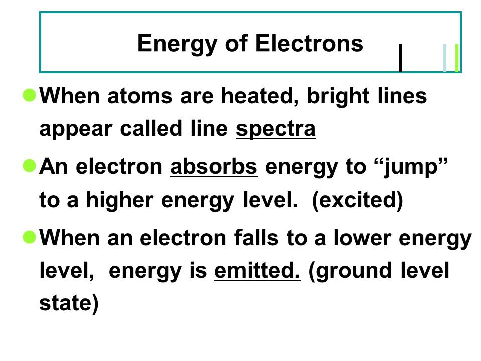 Energy of Electrons When atoms are heated, bright lines appear called line spectra.