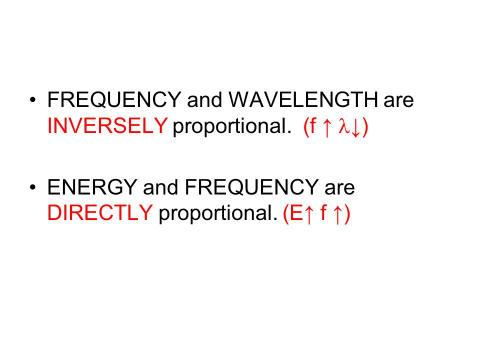 FREQUENCY and WAVELENGTH are INVERSELY proportional. (f ↑ ↓)