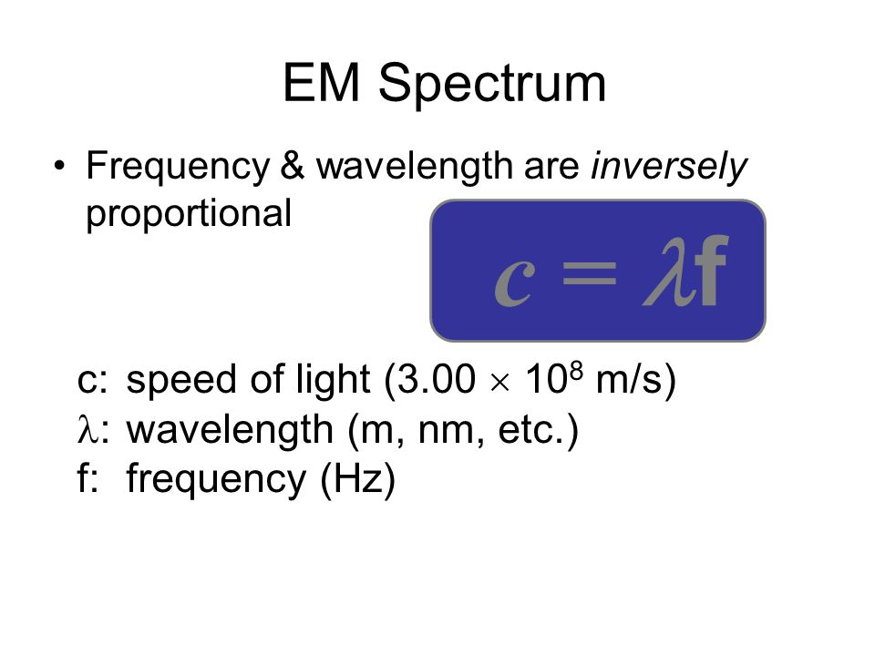 c = f EM Spectrum c: speed of light (3.00  108 m/s)