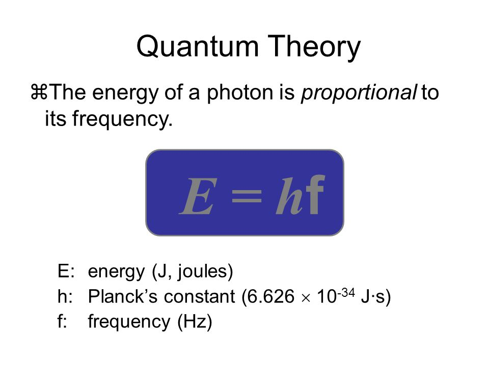 Quantum Theory The energy of a photon is proportional to its frequency. E = hf. E: energy (J, joules)