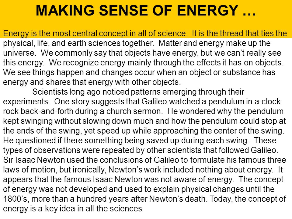 MAKING SENSE OF ENERGY …