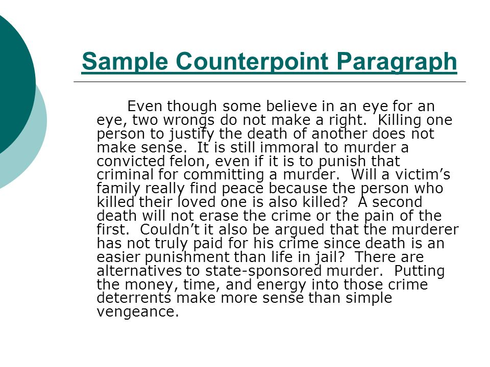 Sample Counterpoint Paragraph