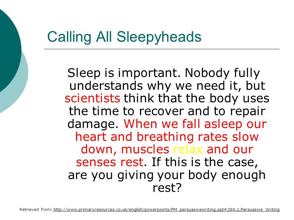 Calling All Sleepyheads