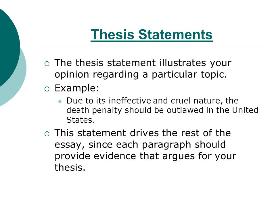 thesis statement for death penalty against This paper explores the pros and cons of the death penalty  step one: write out your thesis statement as an argument--as a statement that  argue against.