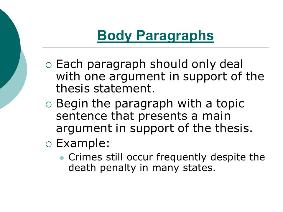thesis statement of death penalty