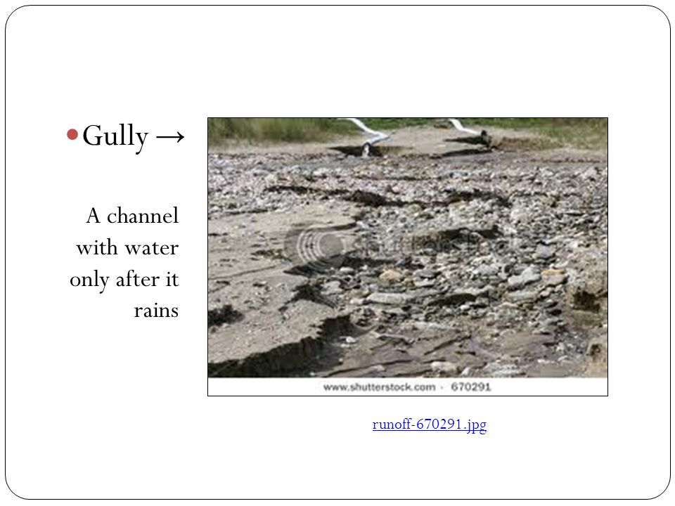 Gully → A channel with water only after it rains runoff‑670291.jpg