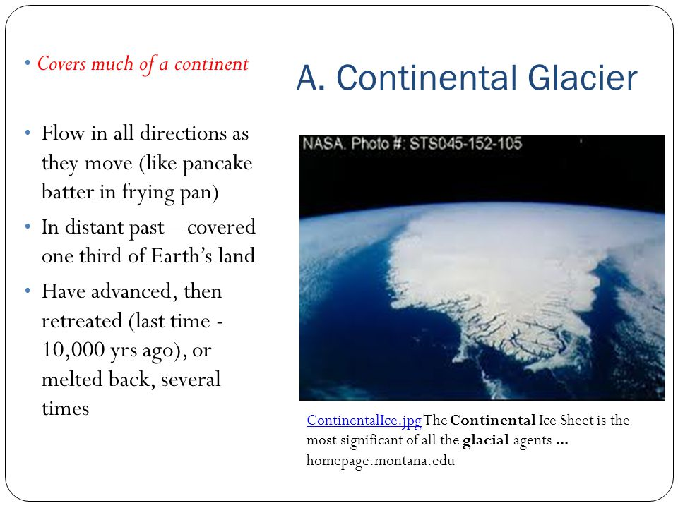 A. Continental Glacier Covers much of a continent