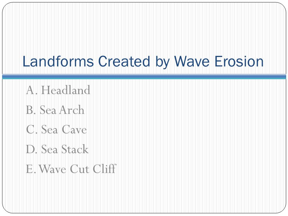 Landforms Created by Wave Erosion