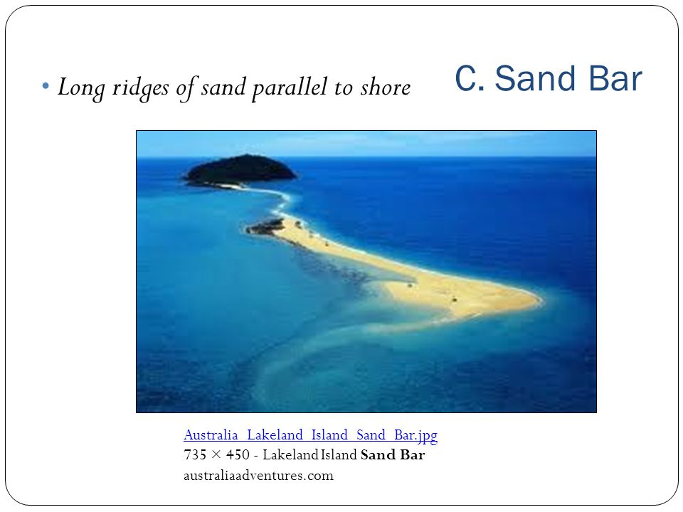 C. Sand Bar Long ridges of sand parallel to shore