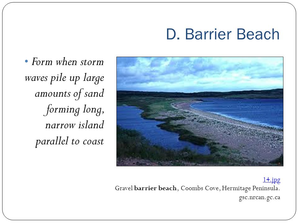 D. Barrier Beach Form when storm waves pile up large amounts of sand forming long, narrow island parallel to coast.