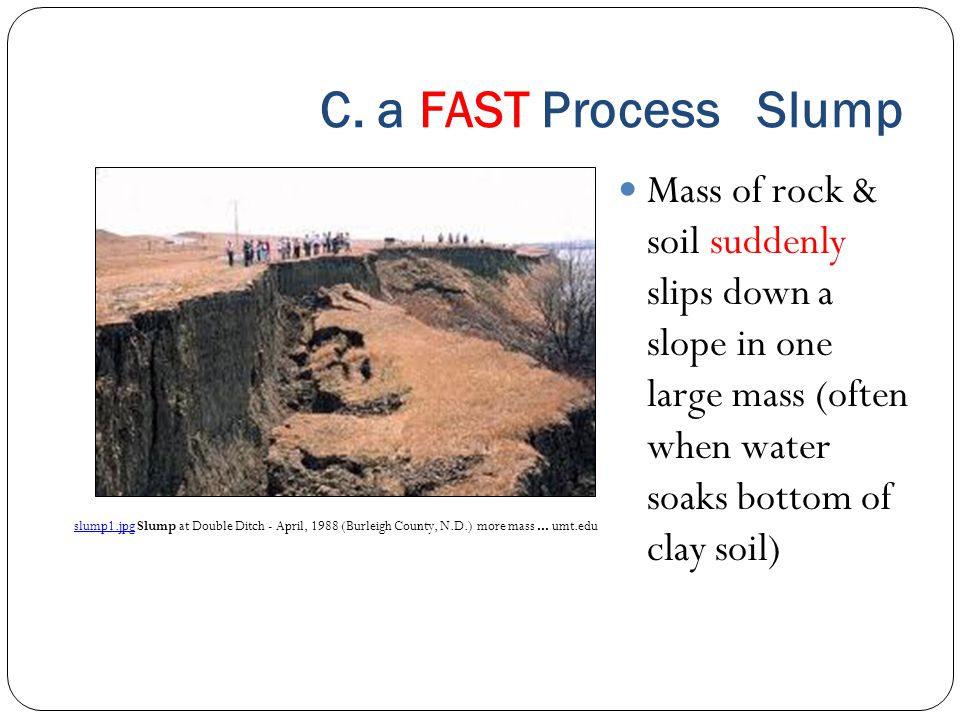 C. a FAST Process Slump Mass of rock & soil suddenly slips down a slope in one large mass (often when water soaks bottom of clay soil)
