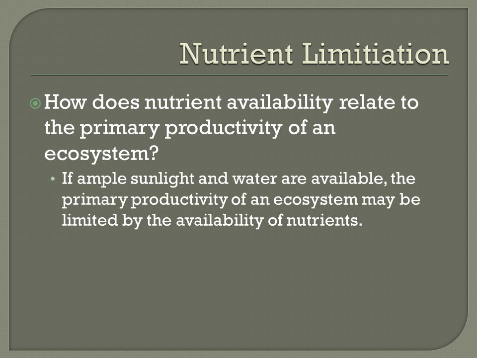 Nutrient Limitiation How does nutrient availability relate to the primary productivity of an ecosystem