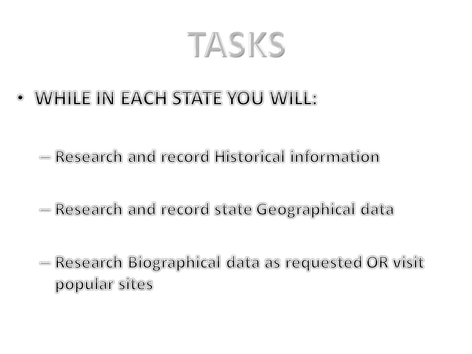 TASKS WHILE IN EACH STATE YOU WILL: