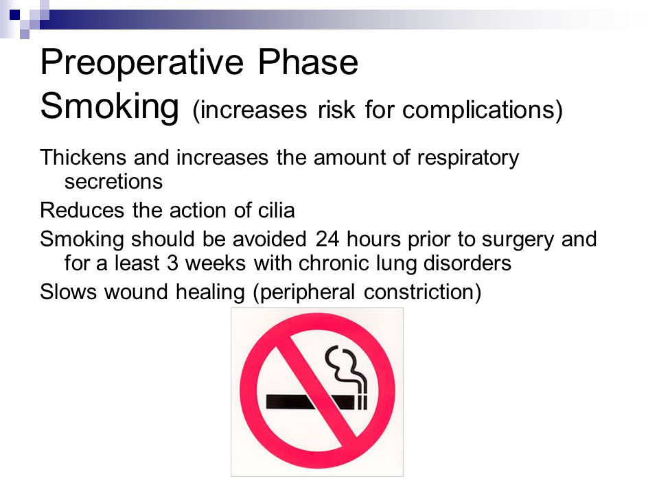 Preoperative Phase Smoking (increases risk for complications)